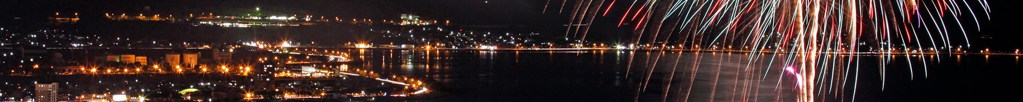 諏訪湖と花火