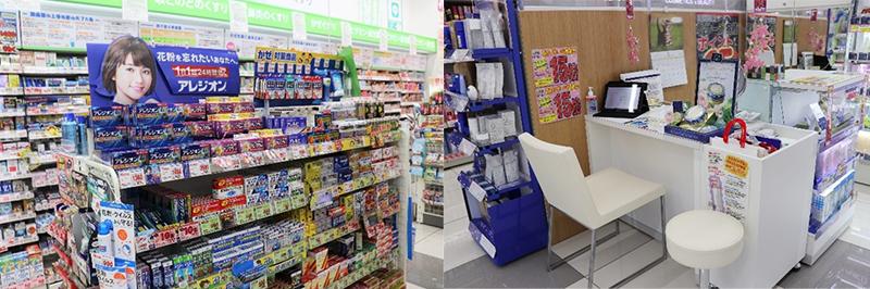 (左)綺麗な商品陳列がされた店内、(右)専門的な商品説明が受けられるビューティーカウンター